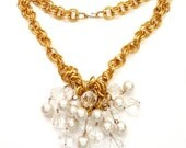 1970s Pearl and Lucite Bead Pendant Statement Necklace and Earrings Gold Chain