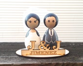 Custom Kokeshi WEDDING CAKE TOPPER with Personalized Engraved Stand - Wooden Dolls - Peg Dolls