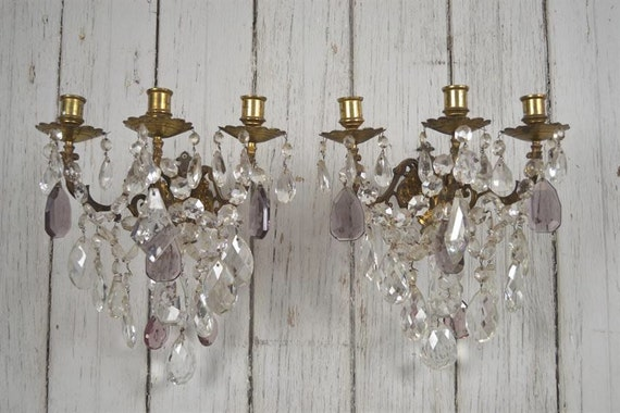 Wall Sconces For Candles With Crystals : Pair of crystal candle wall sconces by FullBloomCottage on Etsy