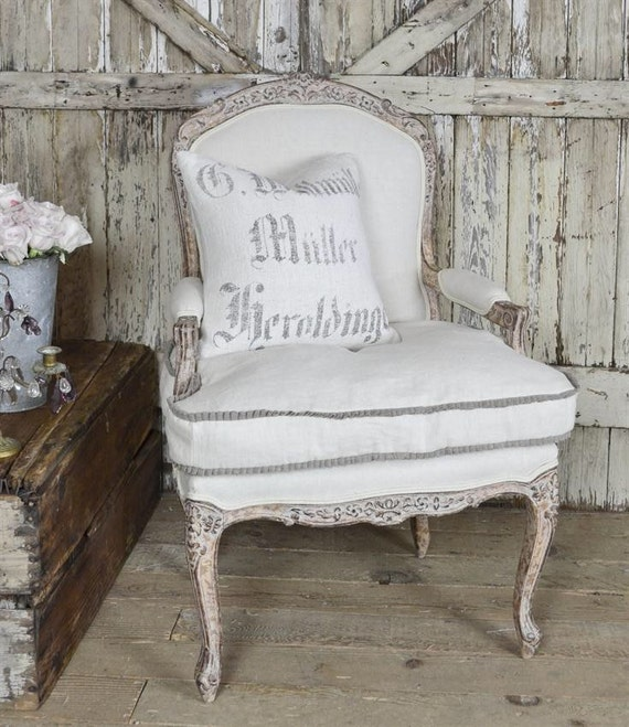 Vintage Linen Chair with Ruffle