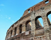 Fine Art photography, ancient Colosseum, Coliseum, Rome, Roma, Italy, blue skies, 8x12 shown, 8x10 available, vintage
