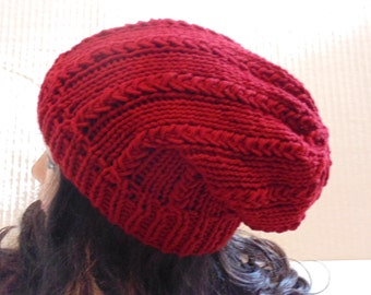 Knitted Slouchy Hat, Burgundy Red Hat, Winter Hat, Beanie