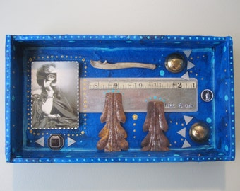 Mixed media pinup girl assemblage, vintage, shadow box, found object art