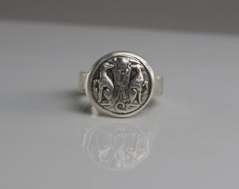 CUSTOM - Made to Order - Greyhounds Crest Enhanced Silver Ring