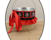 Case IH Themed Flower Girl Basket with Red and Black Trim