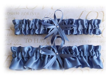 Slate Blue Satin Wedding Garter, Bridal Garter, Prom Garter  (Your Choice, Single or Set)
