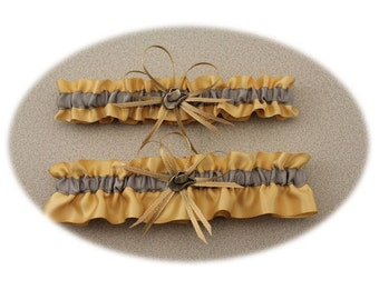 Silver and Toffee Wedding Garter, Western Garter-(Your Choice, Single or Set)