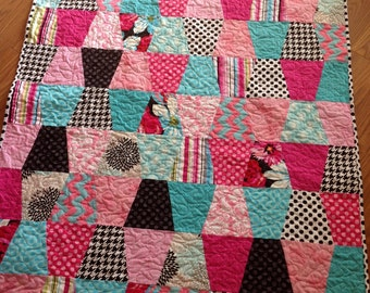 Quilt Baby or Lap Size -- pink, aqua, black, blue, grey-- tumbler, chevron, houndstooth
