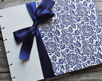 Wedding Guest Book, Baby Boy, Baby Shower Guest Book, Navy Blue Floral, MADE upon ORDER