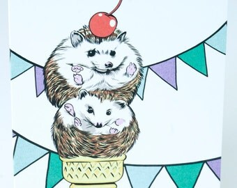 SALE - Happy  Birthday greeting card - Hedgehogs - 50% off
