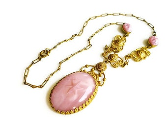 Art Deco Pink Star Sapphire Necklace - Pink Glass, Gilt Gold, Etruscan Revival, Vintage Necklace, Art Deco Jewelry, Antique Jewelry