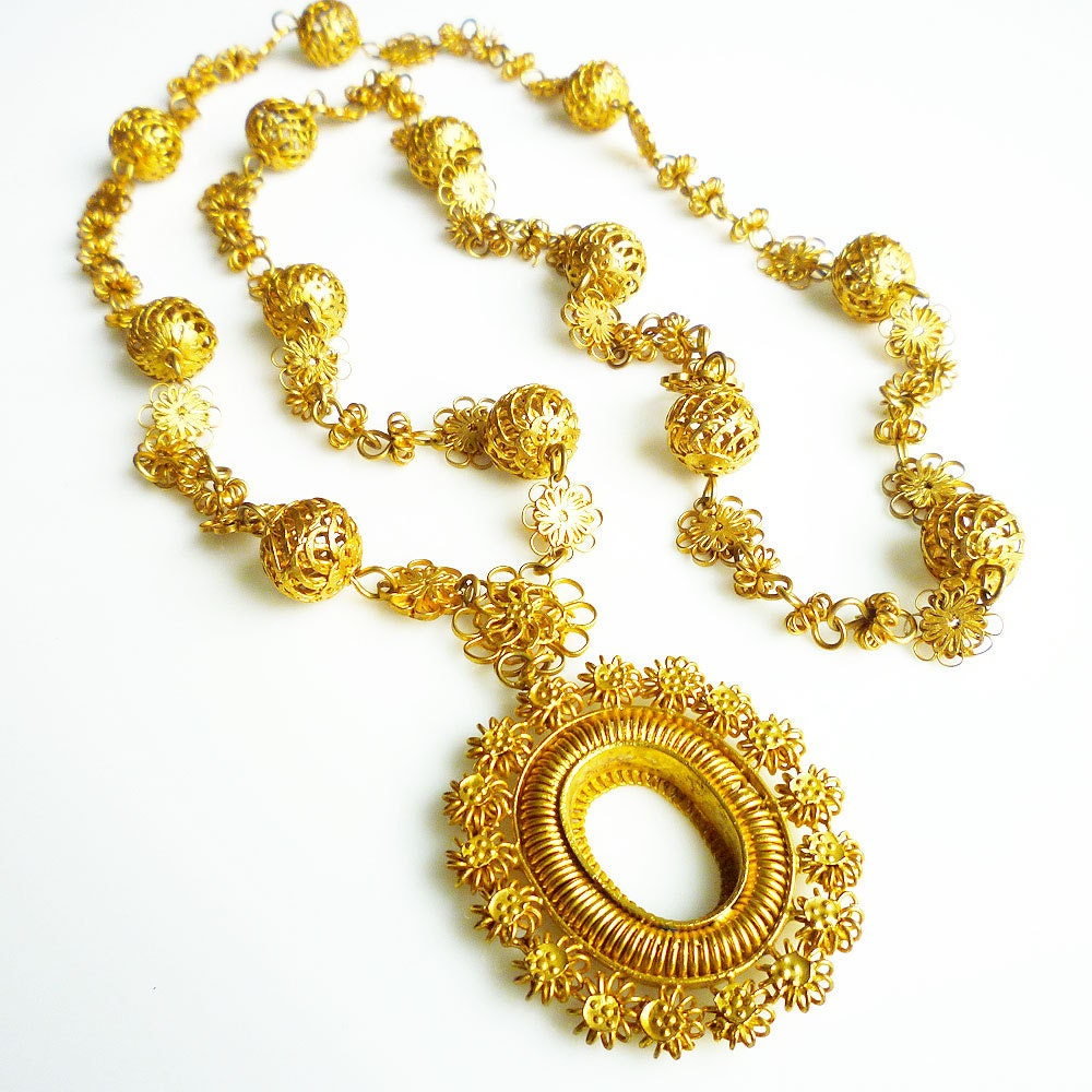 philippines tamborin necklace gold plated filigree religious