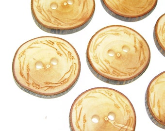 "7 Handmade Apple Wooden Buttons - Engraved Laser Cut  (1,06"" diameter x 0,20"" thick)"
