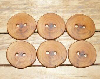 """6  Handmade  plum wood buttons, accessories (1,1"""" diameter x 0,20"""" thick)"""