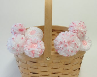 Pom Pom Flowers - Mother's Day Gift - Pink and White - Baby Nursery/Girl's Room Decor - Shower Centerpiece - Expecting Moms - Chevron Design