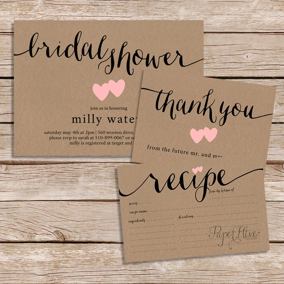 rustic bridal shower invitation thank you card and recipe, Wedding invitations