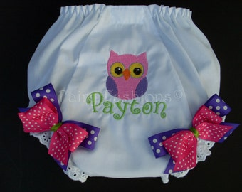 Custom Bloomers.. PINK OWL BLOOMERS ..panties..diaper cover..dress up..birthday bloomers, first birthday,party, princess