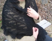 Handknitted lacy scarf. Cozy mohair scarf. Black scarf. Long scarf. Black wrap.