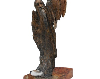 The One In All Original Rick Cain Wolf Old Man Hawk Fantasy Spirit Wood Carving Sculpture