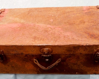 Antique Vintage Worn Battered Metal 26 X 14 X 8 Two Latch Suitcase for Theatrical Use or antique display (50 % OFF APPLIED)