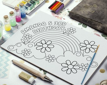 Rainbow Printable Coloring Page - Rainbow Birthday Party Favor | Coloring Placemat Printable | rainbow birthday party supplies