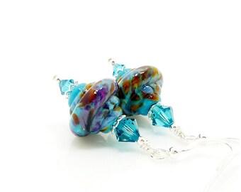 Turquoise Blue Earrings, Baroque Earrings, Glass Earrings, Lampwork Earrings, Glass Bead Earrings, Unique Earrings, Dangle Earrings