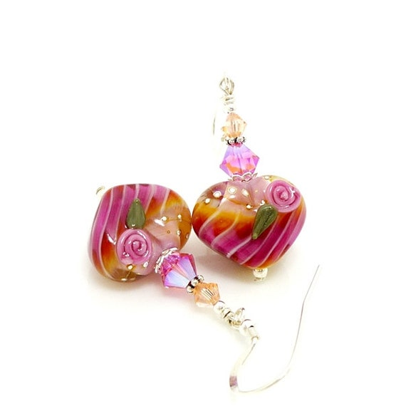 Pink Heart Earrings, Lampwork Earrings, Floral Heart Earrings, Glass Earrings, Glass Bead Earrings, Beadwork Earrings, Valentine Jewelry