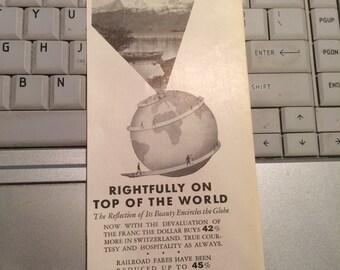 1937 Travel ad Switzerland print ad. 3 1/2 x 9 approx.