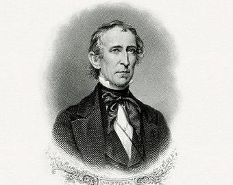 Bureau of Engraving and Printing reproduction Intaglio engraving 8 x 10 John Tyler