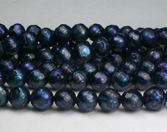 6.5mm  Faceted Pearls Black Peacock Freshwater Pearls 15 pcs