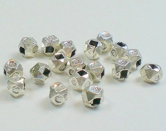 4mm Karen Hill Tribe Fine Silver Stamped Nugget Beads 15pcs. HT-141