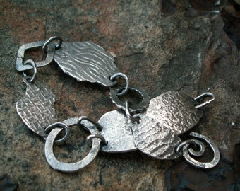 Molten Silver Links -:- Silver textured link bracelet. Freeform. Organic, Rustic.Chic.Recycled Silver. Repurposed.