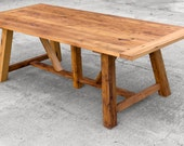 Wormy Chestnut Dining Table - Reclaimed Antique Wood Farm Table - Custom Furniture - Solid Hardwood Family Table - Hand made in the USA