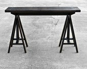 Trestle Style Console Table - Sofa table - sawhorse table - Solid oak hardwood - Custom Furniture - Handmade in the USA - Salvaged wood