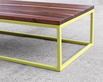 Walnut Coffee Table with Painted Metal Base - customizeable - Custom paint - Solid Hardwood - Modern Organic Decor - Handmade in USA