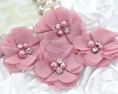 4 pcs Aubrey: VINTAGE PINK  - Soft Chiffon with pearls and rhinestones Mesh Layered Small Fabric Flowers.