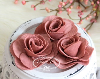Savannah Collection: 3 pcs DARK SALMON - Fabric Textured Rose Bud Burlap Linen Flowers. Hair Accessories, Fascinator or Hat Design Appliques