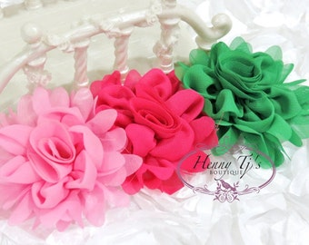 """New: Gladys - PINK / Hot Pink / KELLY Green (2pcs)  3"""" inch Chiffon Silk Rolled Rosette Rose Fabric Flowers. Hair Applique. Headband Flowers"""