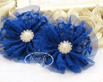 "Emmalyn: 3.5"" inch (2pcs) ROYAL/Kobalt Blue - Soft Tulle Lace Fabric flowers rhinestone pearl button center. Bridal  Hair Brooch headband"