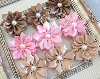 New: Set of 9 Blissful Collection - CAMERON M2M Brown Pink Tan Small satin Flowers with pearl center. Satin CLuster pearl flowers.