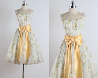 Golden Days . vintage 1950s dress . vintage cocktail dress . 4803