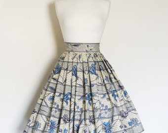 Size UK 10 - Navy & Cream Floral Striped Cotton Pleated Skirt - Made by Dig For Victory