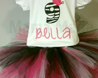Personalized Blinged Zebra Birthday Tutu Outfit with Shirt and Shabby Flower Headband  12 mo 18 mo 24 mo 2t 3t 4t 5t 6 8 10 12