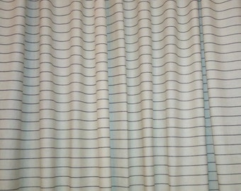 French stripe shower curtain in natural with black stripes