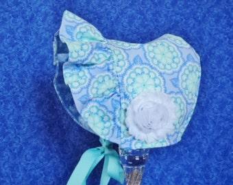 Baby Sun Bonnet Lavender and Aqua Medallions
