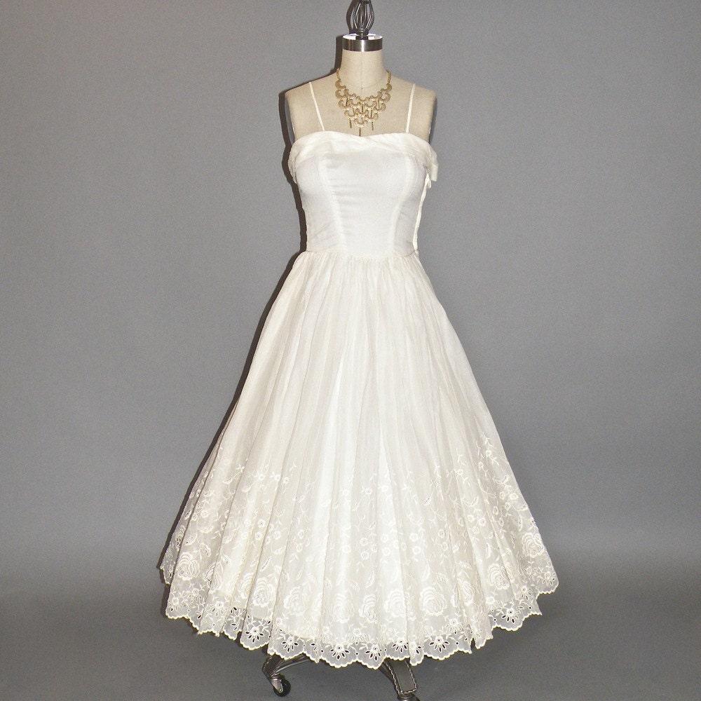 50s Tea Length Wedding Dress White Cotton Eyelet 1950s Dress