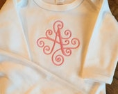 Monogrammed baby gown scroll font