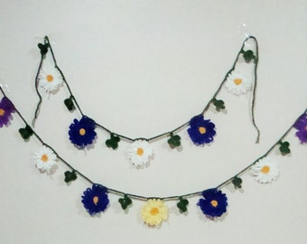 Spring Garland, Daisy Flower Wedding Garland, Flower Garland, Crochet, Crochet Garland, Daisy Garland, Chrysanthemum Garland