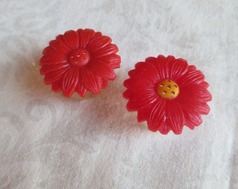 1960s Red Flower Vintage Plastic Salt and Pepper Shakers