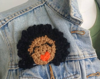 Natural hair afro  kinky chick broach/afro hair pin/natural hair Brooch/